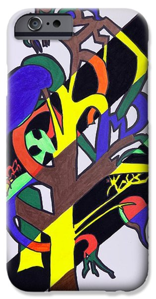Abstract Forms iPhone Cases - Seasonal Tree iPhone Case by Mary Sperling