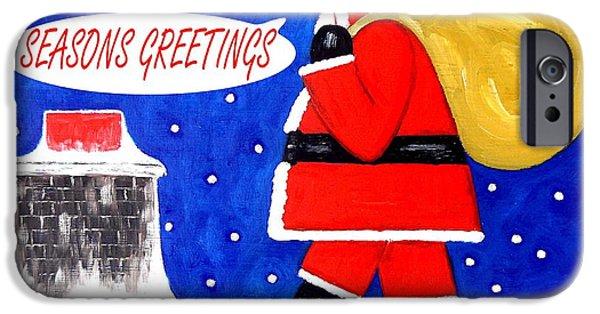 Christmas Eve Paintings iPhone Cases - Seasons Greetings 62 iPhone Case by Patrick J Murphy