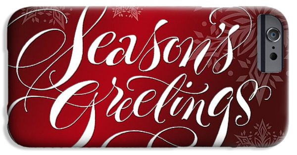 Christmas Greeting iPhone Cases - Seasons Greetings Lettering iPhone Case by Gillham Studios