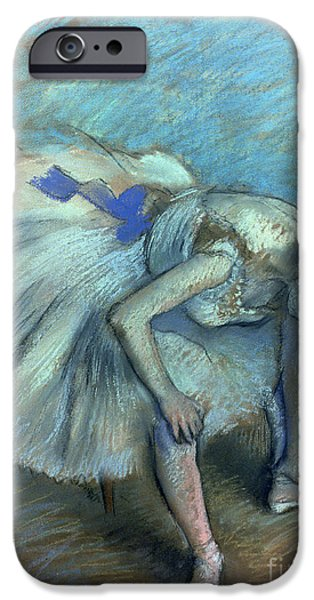 Pastel iPhone Cases - Seated Dancer iPhone Case by Edgar Degas