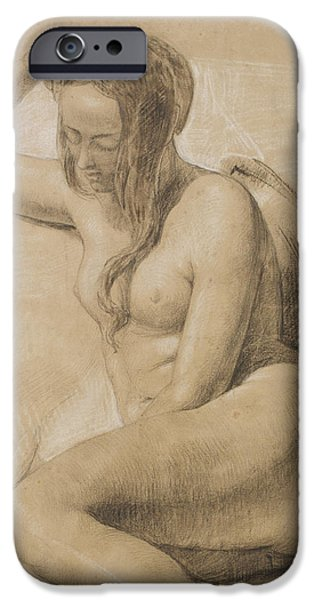 Hair Drawings iPhone Cases - Seated Female Nude iPhone Case by Sir John Everett Millais