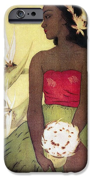 Yellow Bird Of Paradise iPhone Cases - Seated Hula Dancer iPhone Case by Hawaiian Legacy Archives - Printscapes