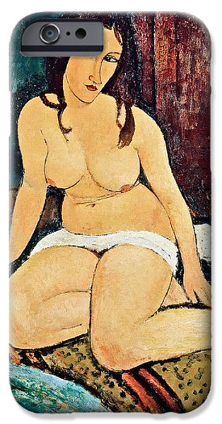 1920 iPhone Cases - Seated Nude iPhone Case by Amedeo Modigliani