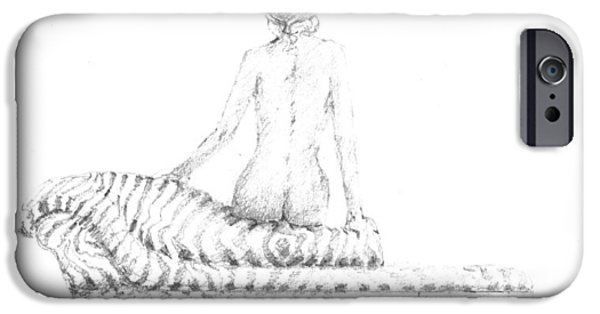 Furniture Drawings iPhone Cases - Seated Nude iPhone Case by Lincoln Seligman
