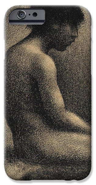 Seurat iPhone Cases - Seated Nude Study for Une Baignade iPhone Case by Georges-Pierre Seurat