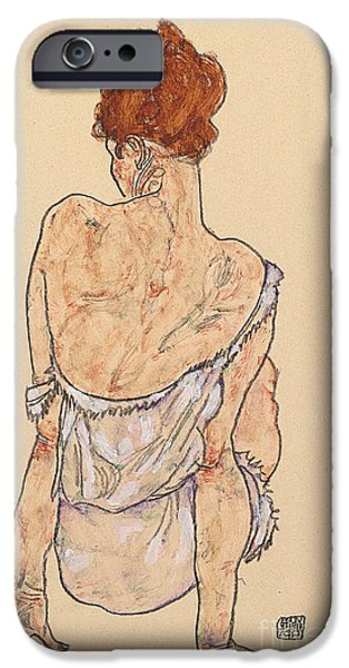 Sit-ins iPhone Cases - Seated woman in underwear iPhone Case by Egon Schiele