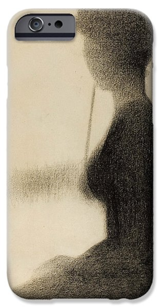 Crayons Drawings iPhone Cases - Seated Woman with a Parasol study for La Grande Jatte iPhone Case by Georges-Pierre Seurat