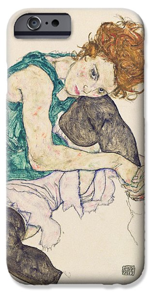 Red And Black iPhone Cases - Seated Woman with Bent Knee iPhone Case by Egon Schiele