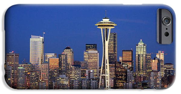 3scape Photos iPhone Cases - Seattle at Dusk iPhone Case by Adam Romanowicz