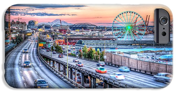 Safeco iPhone Cases - Seattle at Twilight iPhone Case by Spencer McDonald