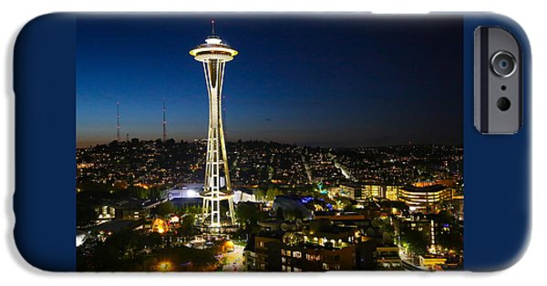 City Scape iPhone Cases - Seattle City Scape #4 iPhone Case by Angie Wingerd