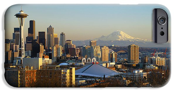 Printscapes - iPhone Cases - Seattle Cityscape iPhone Case by Greg Vaughn - Printscapes
