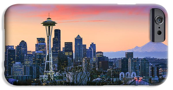 Buildings iPhone Cases - Seattle Waking Up iPhone Case by Inge Johnsson