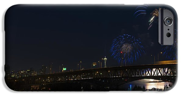 4th July Photographs iPhone Cases - Seattle Fireworks iPhone Case by Mike Dawson
