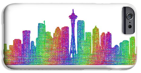 City Scape Drawings iPhone Cases - Seattle skyline iPhone Case by David Zydd