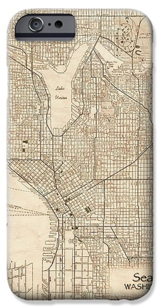 Old Digital Art iPhone Cases - Seattle Washington Antique Vintage City Map iPhone Case by ELITE IMAGE photography By Chad McDermott