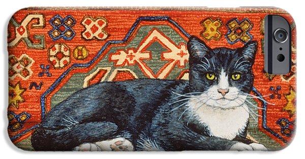 Persian Carpet iPhone Cases - Second Carpet Cat Patch iPhone Case by Ditz