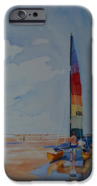 Sailboat Ocean iPhone Cases - Seconds Before the Sail iPhone Case by Margaret Huntley Harrison