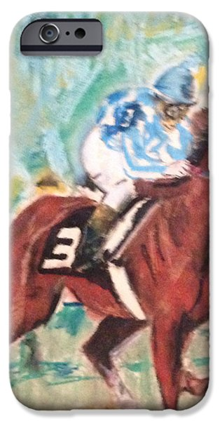 Horse Racing Pastels iPhone Cases - Secretariat 1973 iPhone Case by Michael Martone