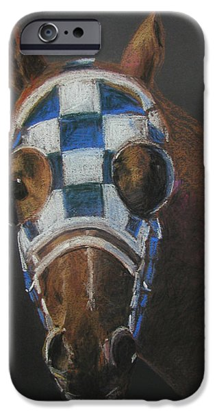 Horse Racing Pastels iPhone Cases - Secretariat - Jewel of the 1973 Triple Crown iPhone Case by Arline Wagner