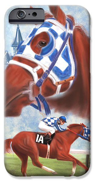 Montage Drawings iPhone Cases - Secretariat Racehorse Portrait iPhone Case by Becky Herrera