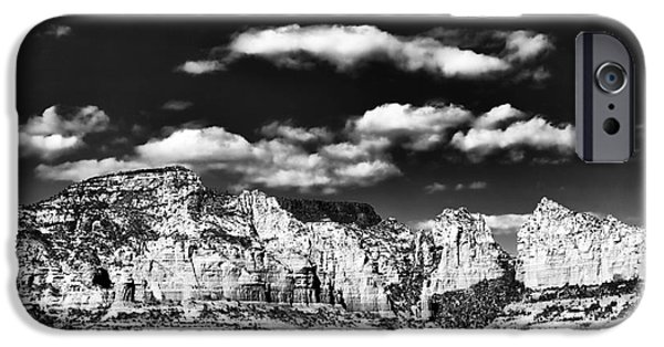 Sedona iPhone Cases - Sedona in Black and White iPhone Case by John Rizzuto