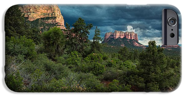 Sedona Pyrography iPhone Cases - Sedona Rock Formations iPhone Case by Rick Strobaugh