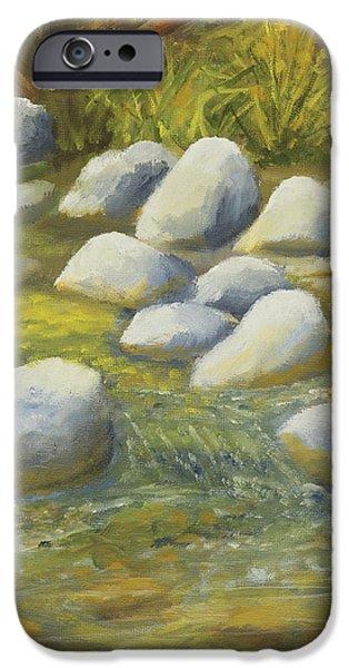 Oak Creek Paintings iPhone Cases - Sedonas Oak Creek String of Pearls iPhone Case by Robert Hoffman