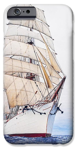 Sailboat Ocean iPhone Cases - Sedov EX. Kommodore Johnsen four-masted barque Russia iPhone Case by Maslyaev Yury