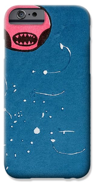 Star System Paintings iPhone Cases - Seedpod Space Monster iPhone Case by Bella Larsson