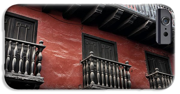 Town iPhone Cases - Seeing Red in Cartagena iPhone Case by John Rizzuto