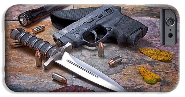 Ammunition iPhone Cases - Self Defense Still Life iPhone Case by Tom Mc Nemar