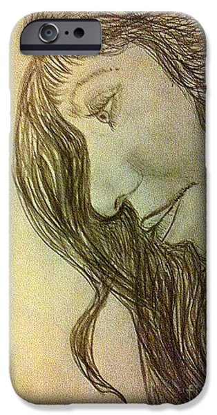 Michelle Drawings iPhone Cases - Self illusion iPhone Case by Michelle Reid