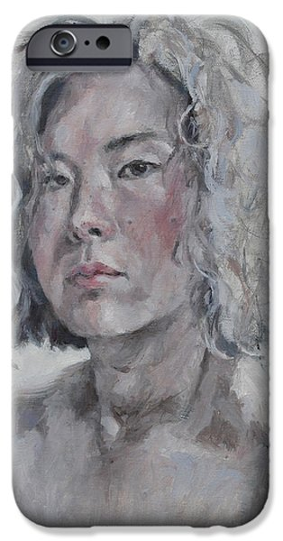 Becky Kim Paintings iPhone Cases - Self Portrait 2015 iPhone Case by Becky Kim