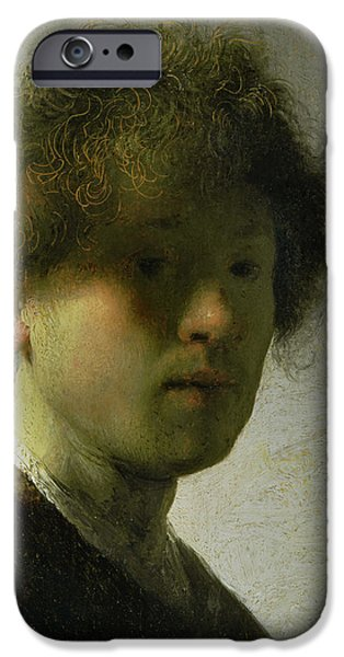 Self Portraits iPhone Cases - Self Portrait as a Young Man iPhone Case by Rembrandt