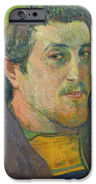 ist Self Portrait Paintings iPhone Cases - Self-portrait Dedicated To Carriere iPhone Case by Paul Gauguin