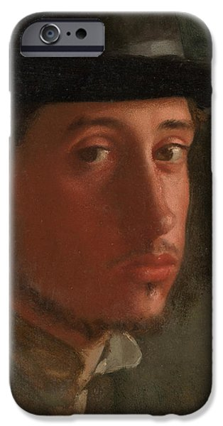 ist Self Portrait Paintings iPhone Cases - Self-Portrait iPhone Case by Edgar Degas