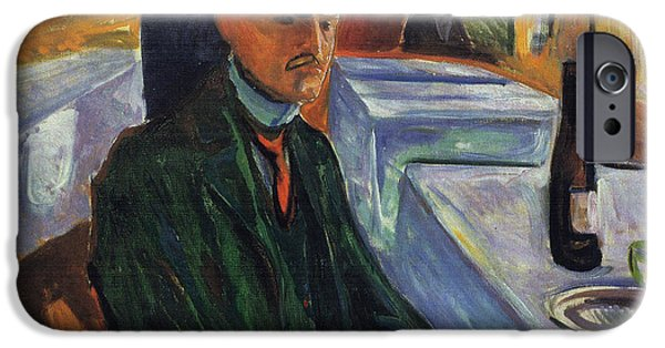 Wine Bottles iPhone Cases - Self-portrait in a bottle of wine iPhone Case by Edvard Munch