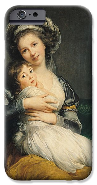 Little iPhone Cases - Self portrait in a Turban with her Child iPhone Case by Elisabeth Louise Vigee Lebrun