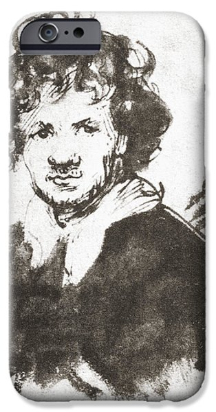 Rembrandt Drawings iPhone Cases - Self Portrait Of Rembrandt Harmenszoon iPhone Case by Ken Welsh