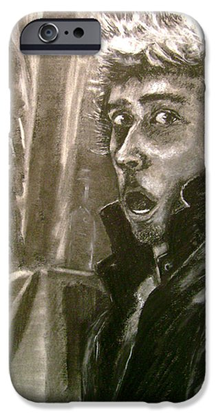 Statue Portrait Drawings iPhone Cases - Self Portrait vs Long Hair iPhone Case by Nils Beasley