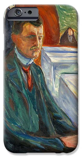 Table Wine iPhone Cases - Self-Portrait with a Bottle of Wine iPhone Case by Edvard Munch