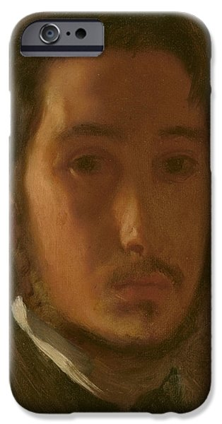 French Open Paintings iPhone Cases - Self-portrait With White Collar iPhone Case by Edgar Degas