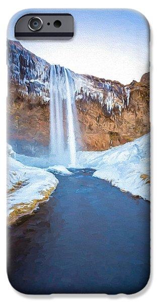 River iPhone Cases - Seljalandsfoss Waterfall 2 iPhone Case by Roy Pedersen