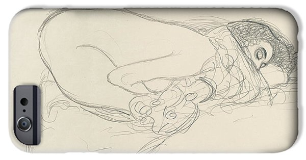 20th Drawings iPhone Cases - Semi Nude leaning forward iPhone Case by Gustav Klimt