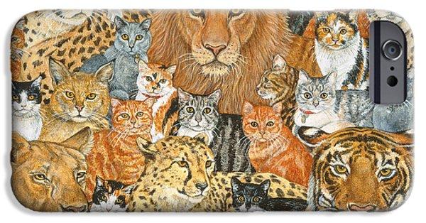 Tiger Art iPhone Cases - Semi Wild Cat Spread iPhone Case by Ditz