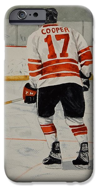 Hockey Paintings iPhone Cases - Senior Whitehawks iPhone Case by Betty-Anne McDonald