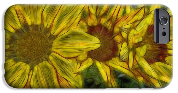 Abstract Digital Photographs iPhone Cases - Sensational Sunflowers iPhone Case by D Hackett