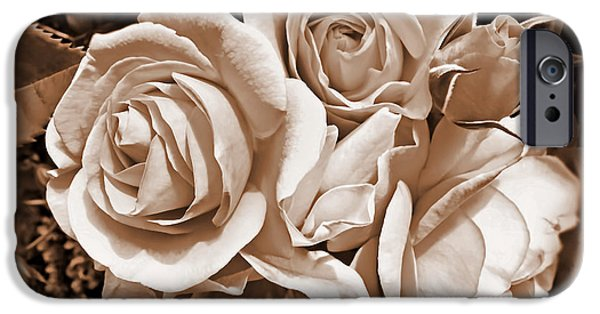 Sepia Flowers iPhone Cases - Sepia Rose Flower Bouquet iPhone Case by Jennie Marie Schell