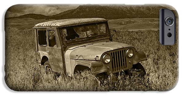 Vandalize Photographs iPhone Cases - Sepia Toned Abandoned Willy Jeep iPhone Case by Randall Nyhof